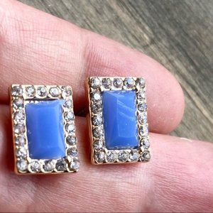 BLUE SAPPHIRE CRYSTAL GOLD JEWELED STUDS EARRINGS